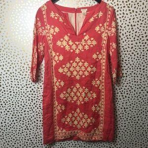 J.crew Pink / cream printed Linen dress size 0